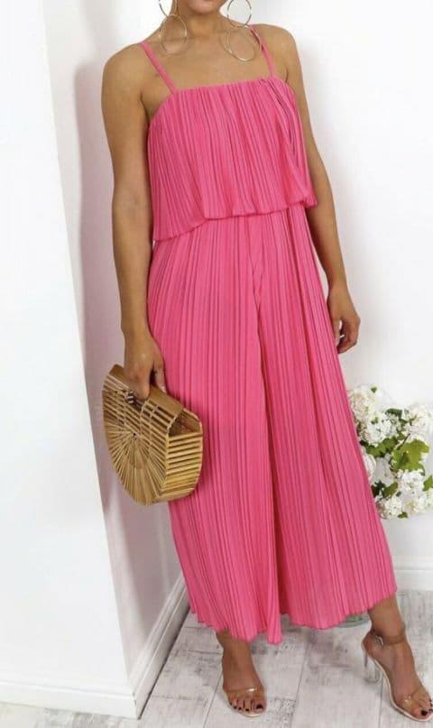 Amy Pleated Frill Jumpsuit Fushia Pink