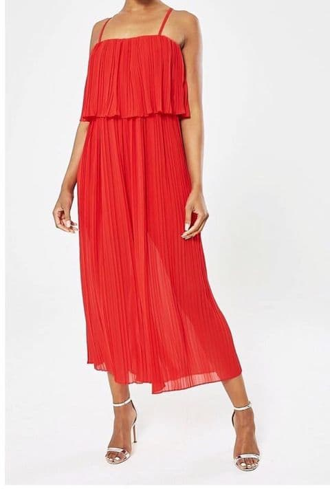 Amy Pleated Frill Jumpsuit Red
