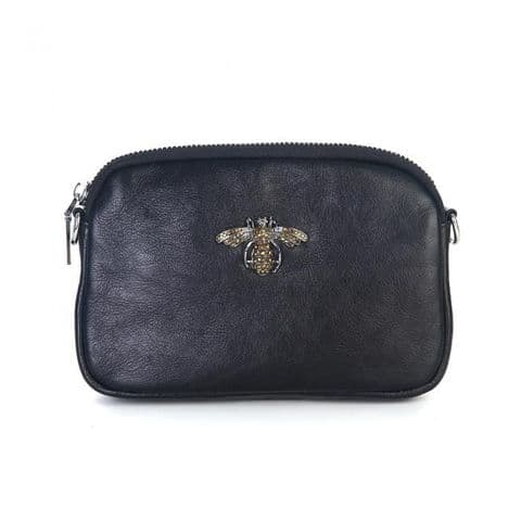 Betsy Real Leather Diamante Bee Cross Body Bag Black
