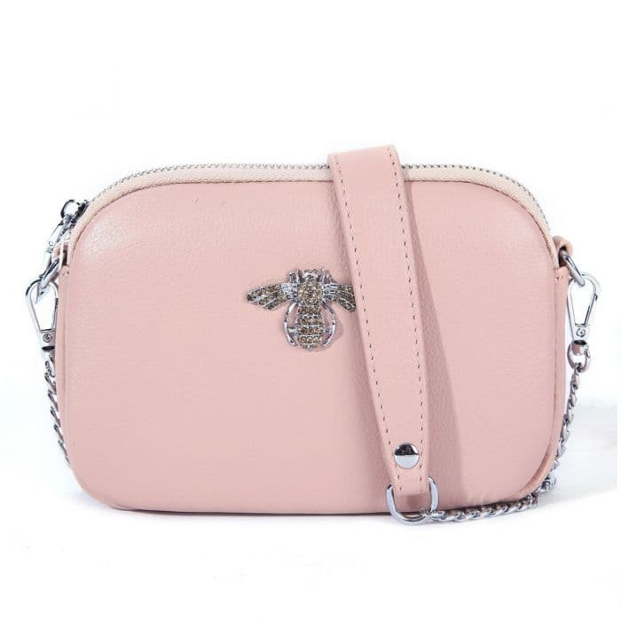 Betsy Real Leather Diamante Bee Cross Body Bag Blush
