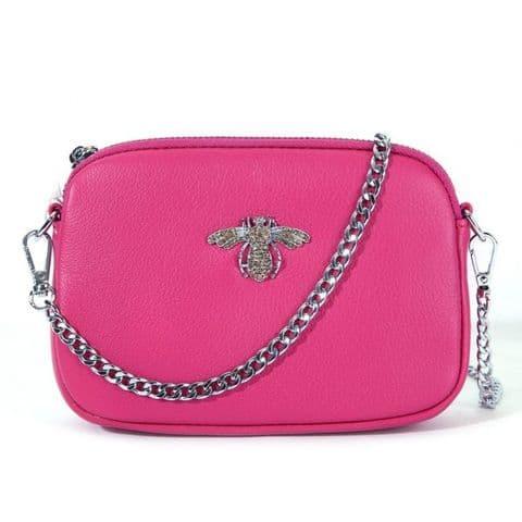 Betsy Real Leather Diamante Bee Cross Body Bag Fushia Pink