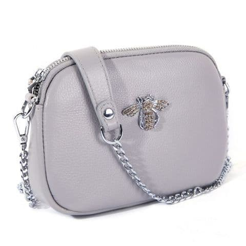 Betsy Real Leather Diamante Bee Cross Body Bag Grey