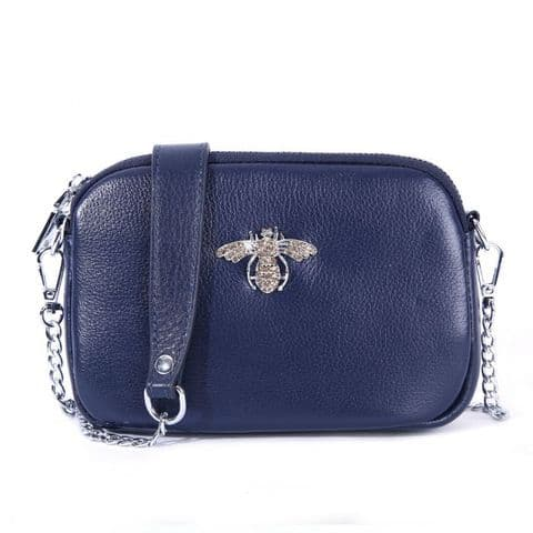 Betsy Real Leather Diamante Bee Cross Body Bag Navy