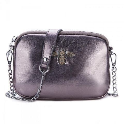 Betsy Real Leather Diamante Bee Cross Body Bag Pewter