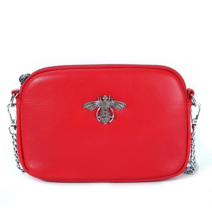 Betsy Real Leather Diamante Bee Cross Body Bag Red