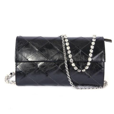 Chantel Real Leather Designer Inspired Diamante Clutch Cross Body Bag Black