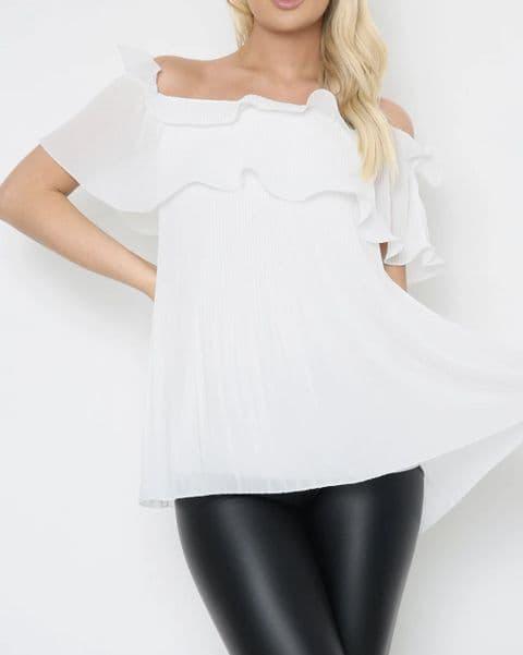 Ellie Pleated Bardot White