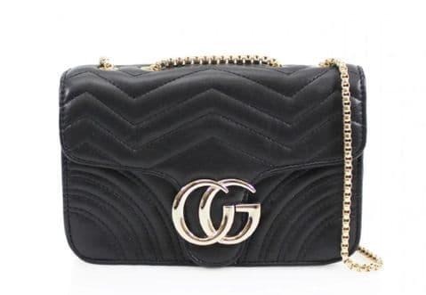 Gessy Designer Inspired Cross Body Handbag Black