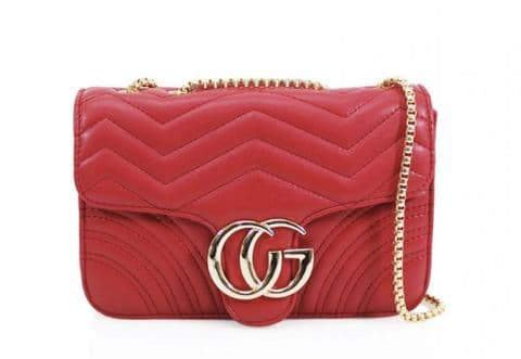 Gessy Designer Inspired Cross Body Handbag Red