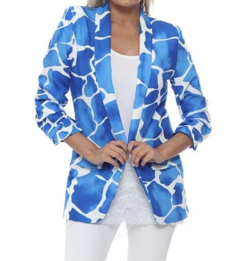 Giraffe Print Blazer Cobolt Blue