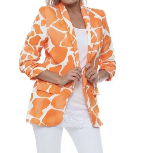 Giraffe Print Blazer Orange
