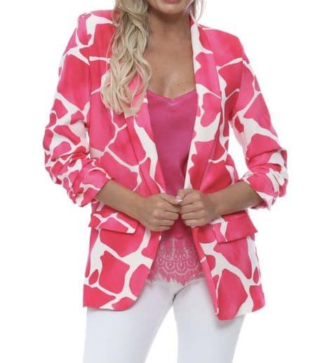 Giraffe Print Blazer Pink