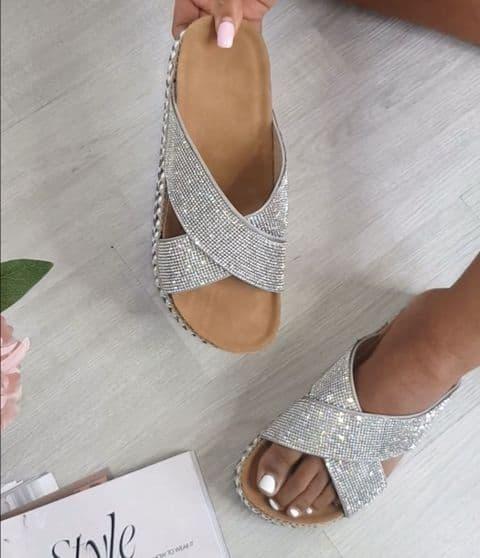 Louis Diamante Silver Slider Sandal