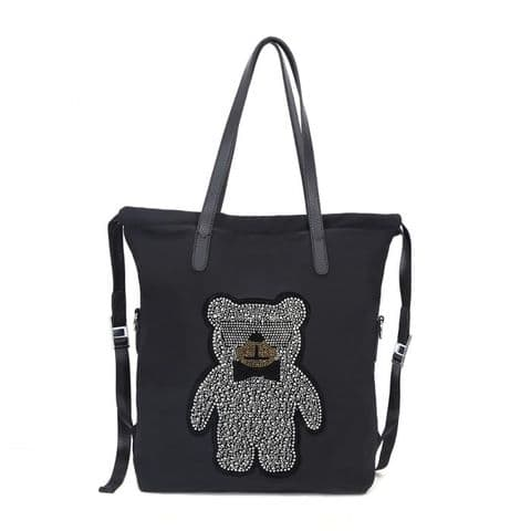 Moschi Designer Inspired Diamante Crystal Teddy Bear Shopper Bag