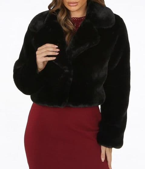 Selena Fur Jacket Black