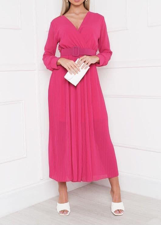 Sophia Pleated Reversible Jumpsuit Fushia Pink