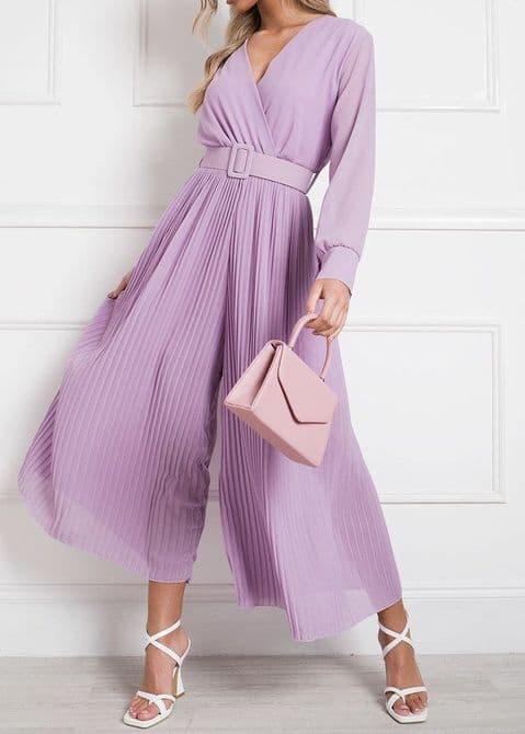 Sophia Pleated Reversible Jumpsuit Lilac