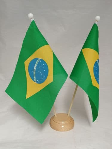 Brazil Double Wooden Table Flag