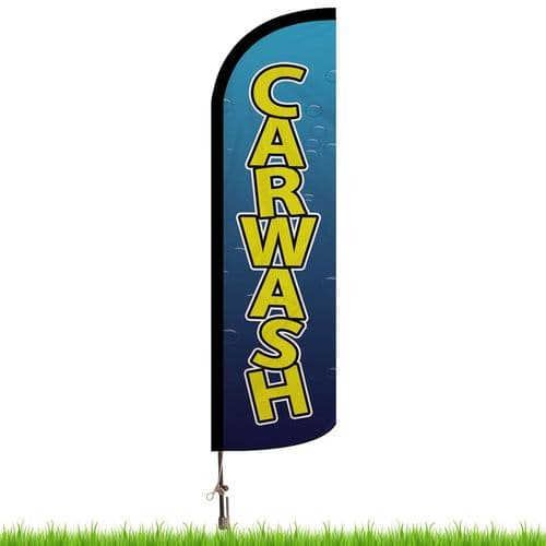 Car Wash Bubbles Advertising Flag - Small