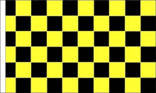 Checkered 5ft x 3ft Black and Yellow (Sleeved) Flag