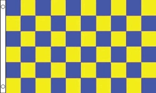 Checkered 5ft x 3ft Blue and Yellow Flag