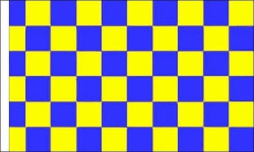 Checkered 5ft x 3ft Blue and Yellow (sleeved) Flag