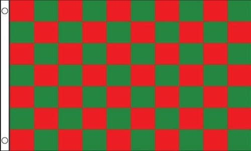 Checkered 5ft x 3ft Green and Red Flag