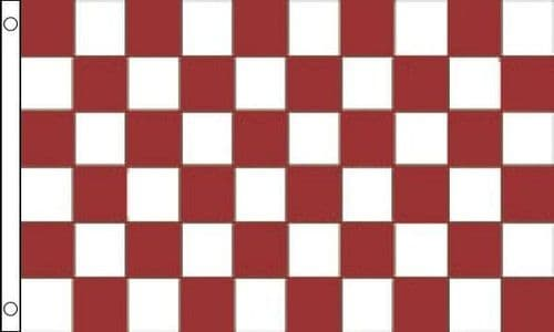 Checkered 5ft x 3ft Maroon and White Flag
