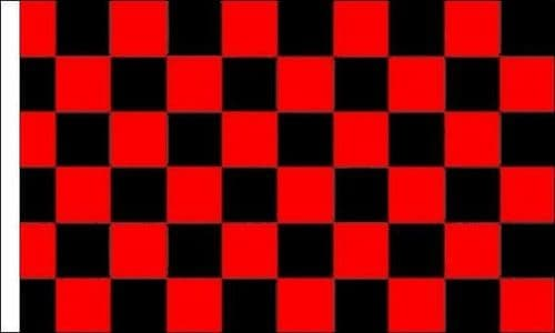 Checkered 5ft x 3ft Red and Black (Sleeved) Flag