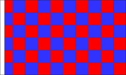Checkered 5ft x 3ft Red and Blue (Sleeved) Flag