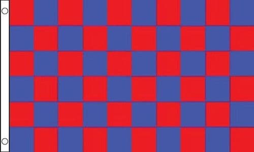 Checkered 5ft x 3ft Royal Blue and Red Flag