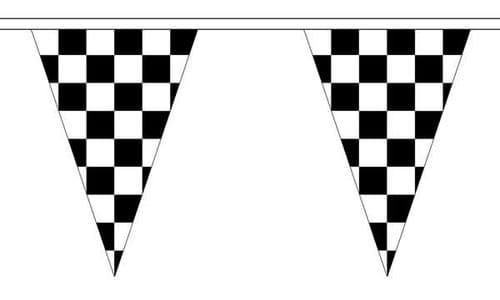 Checkered Bunting Black and White Triangle (5m) - 12 Flags