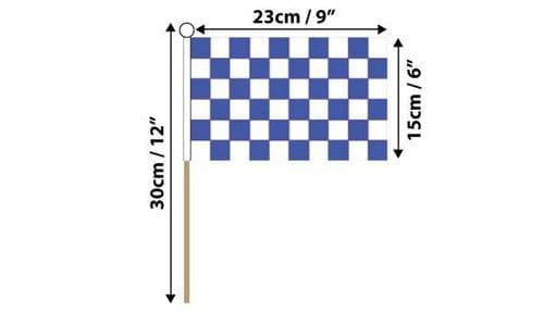 Checkered Hand Flag Blue and White