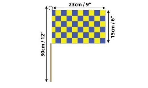 Checkered Hand Flag Blue and Yellow