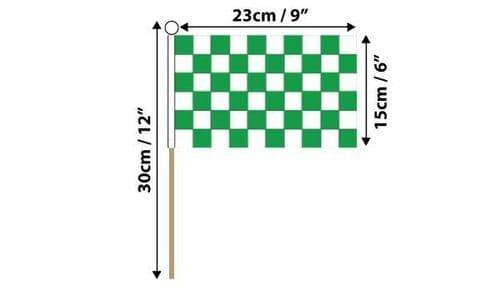 Checkered Hand Flag Green and White