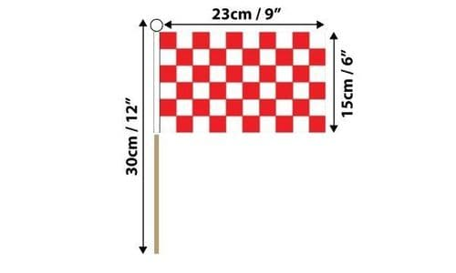 Checkered Hand Flag Red and White