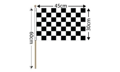 """Checkered Large Hand Flag Black and White (18"""" x 12"""") - 12 PACK"""