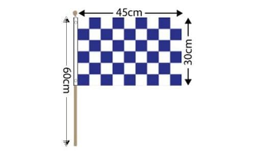 """Checkered Large Hand Flag Blue and White (18"""" x 12"""")"""