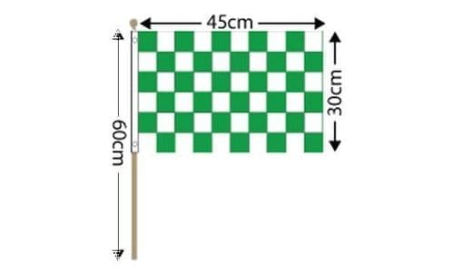 """Checkered Large Hand Flag Green and White (18"""" x 12"""") - 12 PACK"""