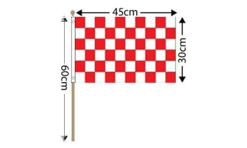 """Checkered Large Hand Flag Red and White (18"""" x 12"""") - 12 PACK"""