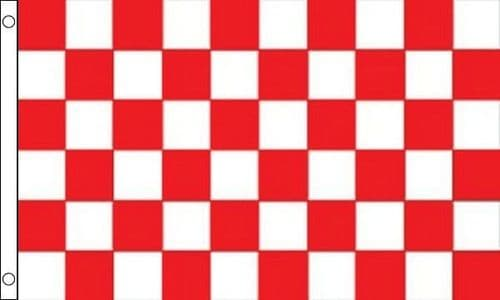 Checkered SLEEVED Red and White Flag - 1.5ft x 1ft