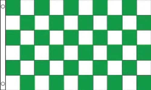 Checkered VALUE Green and White Flag - 3ft x 2ft