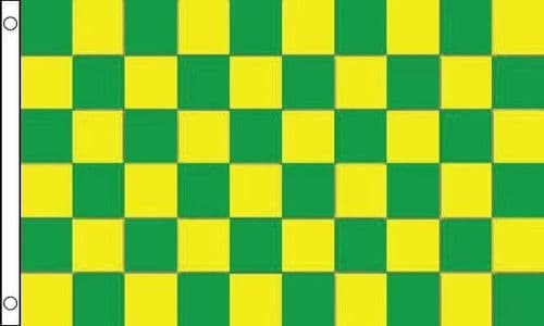 Checkered VALUE Green and Yellow Flag - 3ft x 2ft