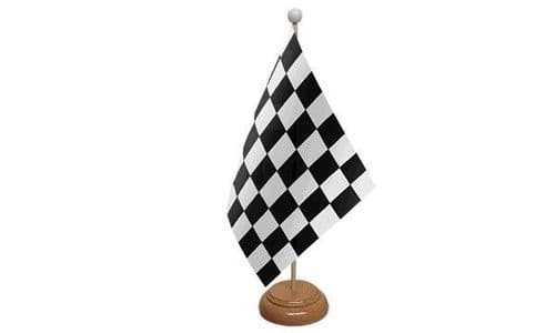 Checkered Wooden Table Flag Black And White
