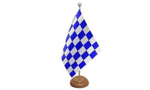 Checkered Wooden Table Flag Blue And White
