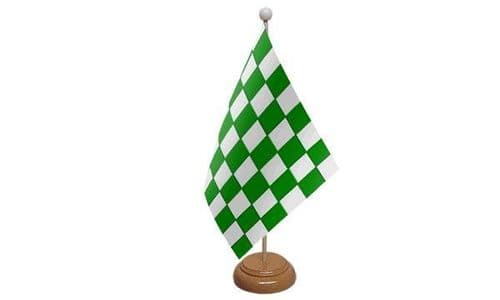 Checkered Wooden Table Flag Green And White