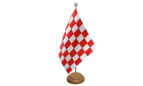 Checkered Wooden Table Flag Red And White
