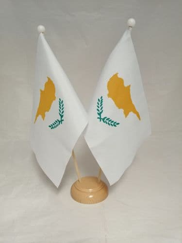 Cyprus Double Wooden Table Flag