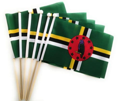 Dominica Hand Flag - 6 Pack