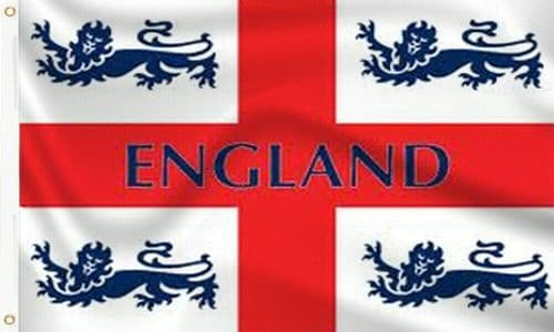 England 4 Lions Flag - 5ft x 3ft